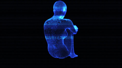 4K Holographic Futuristic Wireframe Android AI Woman Sitting Seamless Loop Animation