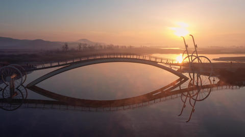 Aerial view Bicycle Bridge in South Korea.A place to watch the sunrise in South Korea.The River and Live Action