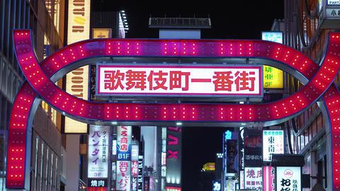 Kabukicho Gate in Shinjuku - night life in Tokyo - TOKYO, JAPAN - JUNE 17, 2018 Footage