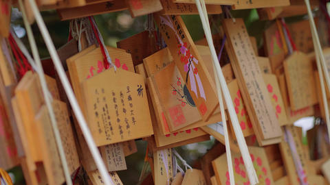 Wishes written on wooden plates in a Buddhist Temple in Japan - TOKYO, JAPAN - Footage