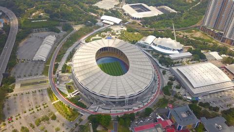 Top view of Bukit Jalil National Stadium and landscape garden in Kuala Lumpur, Malaysia. Urban city Footage