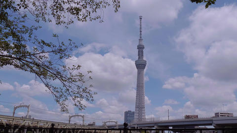 Tokio Skytree - a famous landmark in the city - TOKYO, JAPAN - JUNE 19, 2018 Live Action