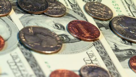 4K. Pile Of Money. Shot Slider Stock Video Footage