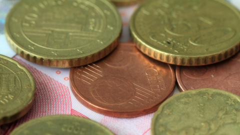 4K. Euro Coins On Euro Notes. Shot Slider Stock Video Footage