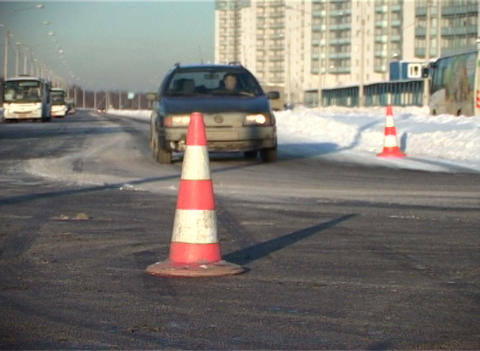 Road fence, the cone Stock Video Footage