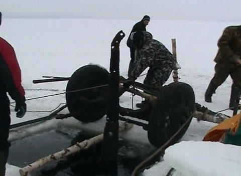 Sunken cars on Lake Ladoga Stock Video Footage
