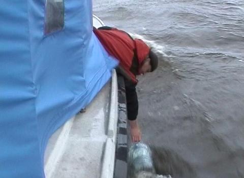 Boat on Lake Ladoga Stock Video Footage