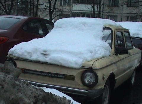 The car filled up with snow Stock Video Footage