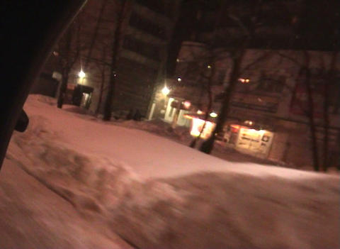 Journey on a night city in the winter Stock Video Footage