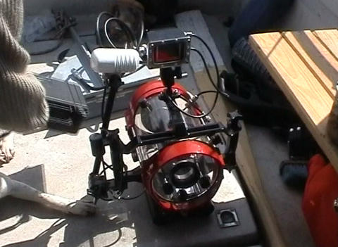 Shipboard equipment for underwater photography Footage