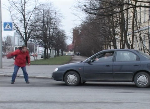 Conflict Of Driver And Pedestrian stock footage