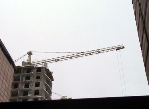 crane at a construction site Stock Video Footage