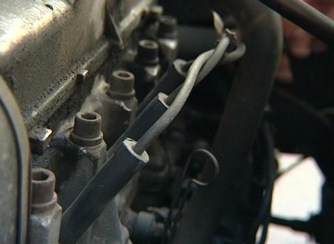 Caps on spark plugs Stock Video Footage