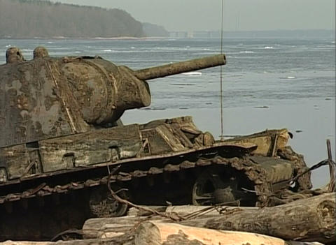 Sunken tank KV-1 was pulled from the river Stock Video Footage