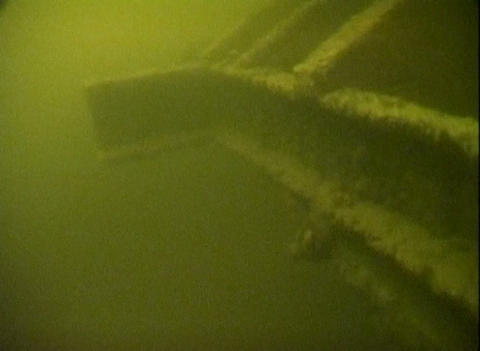 Sunken railroad cars on Lake Ladoga Stock Video Footage