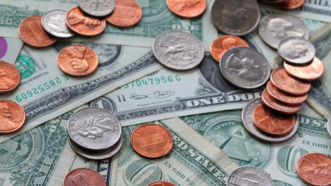 4K. Dollars And Cents. Shot Slider Stock Video Footage