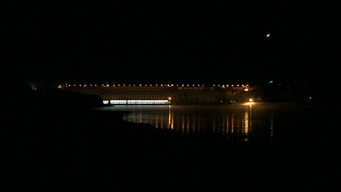Krasnoyarsk Dam at Night (01) Footage