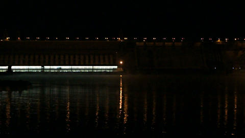 Krasnoyarsk Dam at Night (03) Stock Video Footage