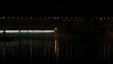 Krasnoyarsk Dam at Night (03) Footage