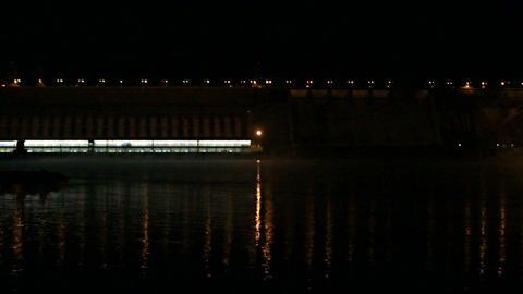 Krasnoyarsk Dam at Night (03) Footage
