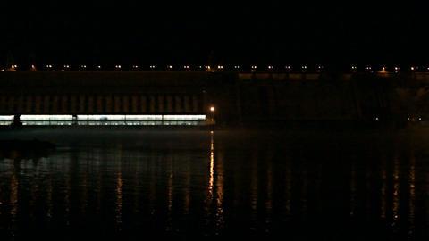 Krasnoyarsk Dam at Night (03) Stock Video Footage