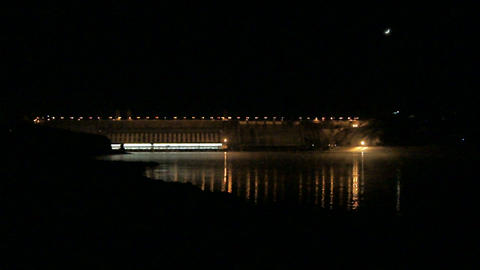 Krasnoyarsk Dam at Night (02) Footage