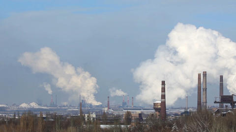 Smoke from factory chimneys. winter (timelapse) Footage