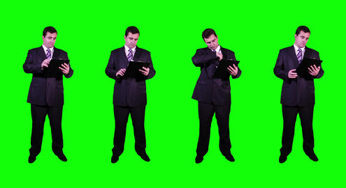 4 K Young Businessman Greenscreen 1 Stock Video Footage