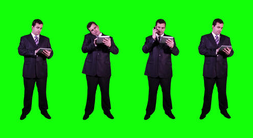 4 K Young Businessman Greenscreen 3 Stock Video Footage