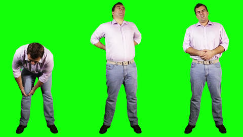 Men Knee Back Stomach Pain Bundle Full Body Greenscreen Stock Video Footage