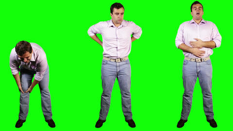 Men Knee Back Stomach Pain Bundle Full Body Greenscreen Footage