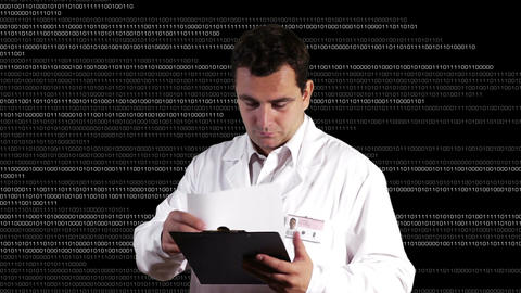 Scientist Checking Documents Binary Numbers Backgr Footage