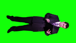 Young Businessman Checking Documents Full Body... Stock Video Footage