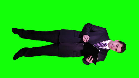 Young Businessman Checking Documents Not Happy Full Body Greenscreen 67 Footage