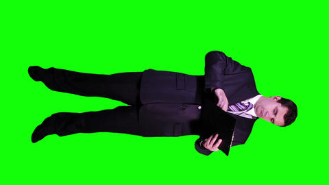 Young Businessman Checking Documents Signs Full Body Greenscreen 69 Footage
