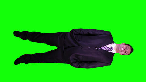 Young Businessman Confident Full Body Greenscreen 46 Stock Video Footage