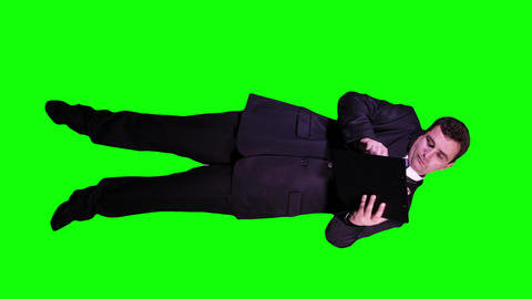 Young Businessman Documents Phone Busy Full Body Greenscreen 72 Footage