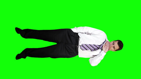 Young Businessman Drunk Full Body Greenscreen 40 Stock Video Footage