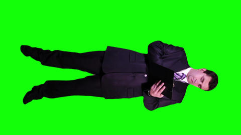 Young Businessman Making Notes Full Body Greenscreen 70 Stock Video Footage