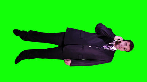 Young Businessman Phone Good News Full Body Greenscreen 52 Footage