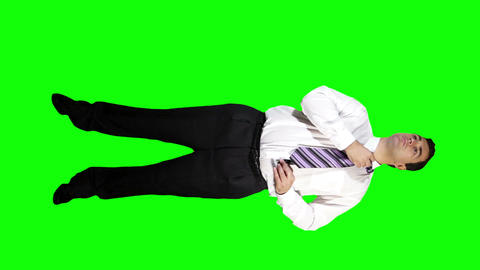 Young Businessman Putting Tie Wrong Full Body Greenscreen 44 Stock Video Footage