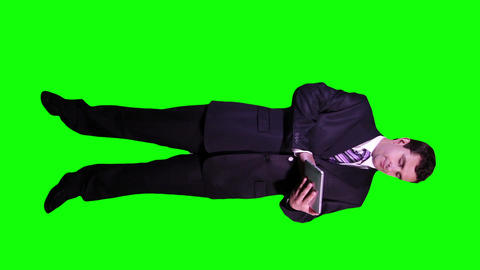 Young Businessman Tablet PC Full Body Greenscreen 59 Footage