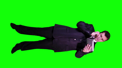 Young Businessman Tablet PC Phone Going Mad Full Body Greenscreen 63 Footage