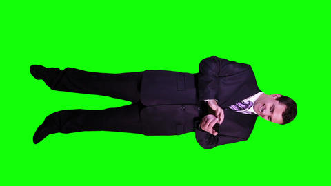 Young Businessman Touchscreen Phone Good News Full Body Greenscreen 57 Footage