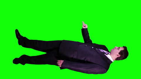 Young Businessman Virtual Board Gestures Full Body Greenscreen 73 Footage