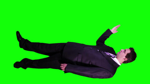 Young Businessman Virtual Board Gestures Full Body... Stock Video Footage