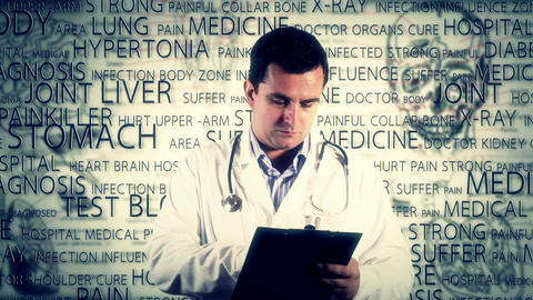 Young Doctor Checking Signing Documents Medical... Stock Video Footage