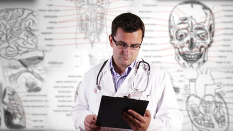 Young Doctor Glasses Checking Documents Medical... Stock Video Footage