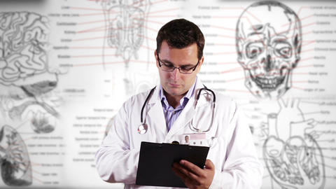 Young Doctor Glasses Checking Documents Medical Background 20 Footage