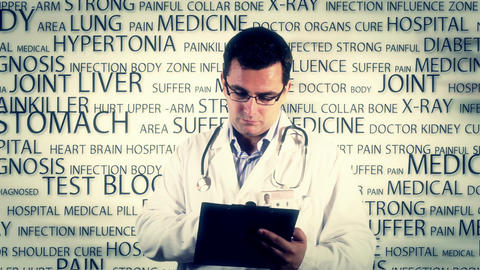 Young Doctor Glasses Checking Documents Medical Bakcground 2 Footage